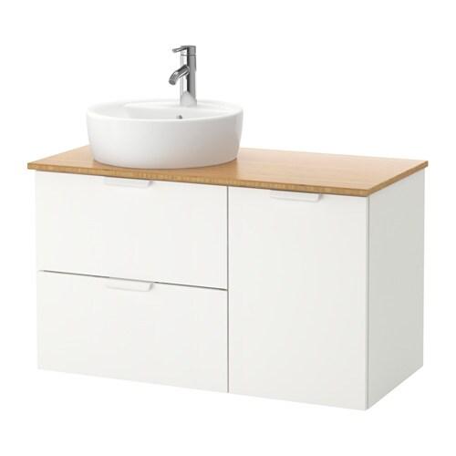GODMORGON TOLKEN TÖRNVIKEN Kommod med 45 tvättställ bambu, vit IKEA