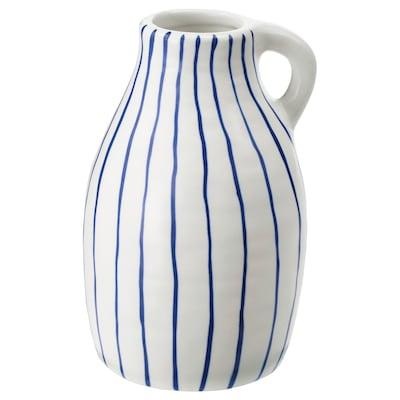 GODTAGBAR Vas, keramik vit/blå, 14 cm