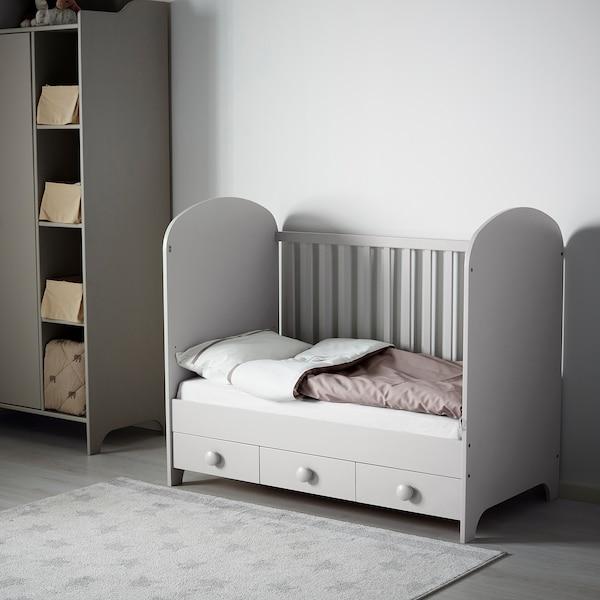 GONATT Spjälsäng, ljusgrå, 60x120 cm
