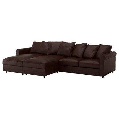 GRÖNLID 4-sitssoffa, med schäslonger/Kimstad mörkbrun