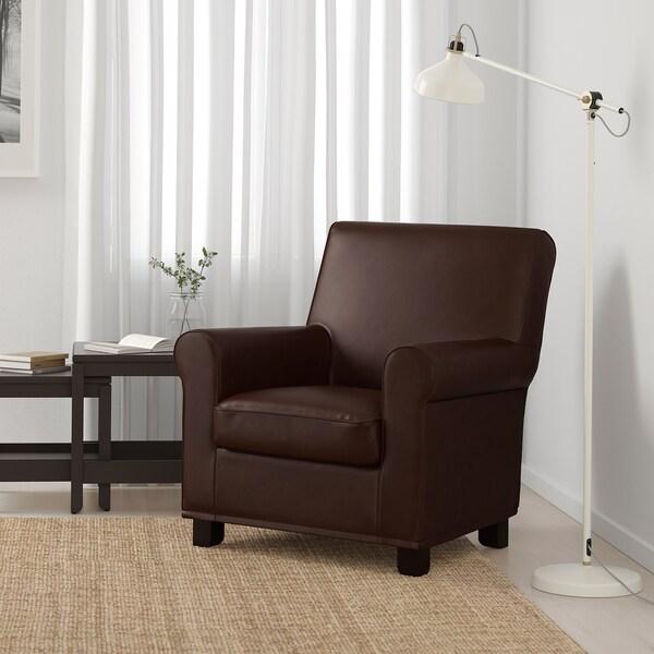 GRÖNLID Fåtölj, Kimstad mörkbrun