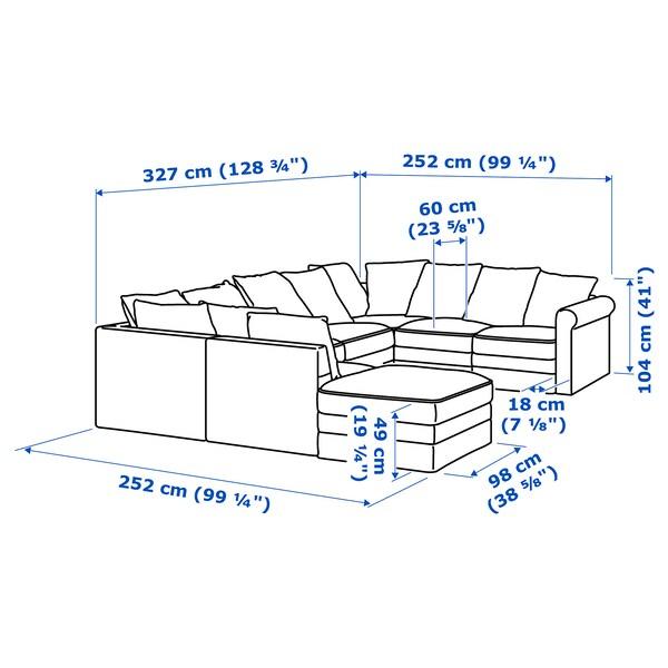 GRÖNLID U-formad soffa, 6-sits, med öppet slut/Ljungen ljusgrön