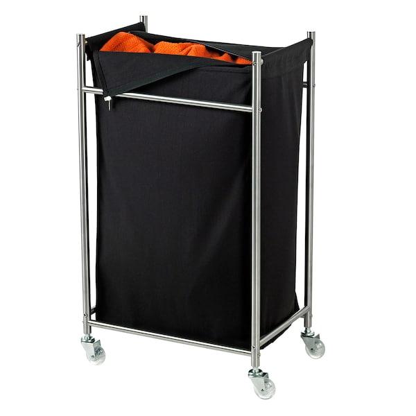 GRUNDTAL Tvättsäck på hjul, rostfritt stål/svart, 70 l