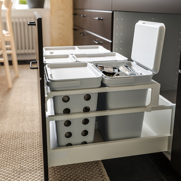 HÅLLBAR Avfallssorteringslösning, för METOD kökslåda/ljusgrå, 44 l