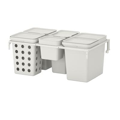 HÅLLBAR Avfallssorteringslösning, för METOD kökslåda ventilerad/ljusgrå, 55 l