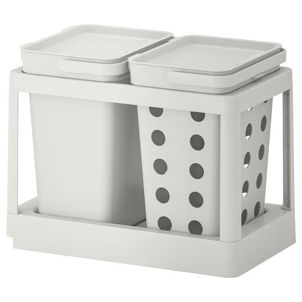 HÅLLBAR Avfallssorteringslösning, med utdrag ventilerad/ljusgrå, 20 l