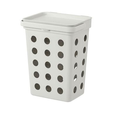 HÅLLBAR Behållare m lock f organiskt avfall, ljusgrå, 10 l