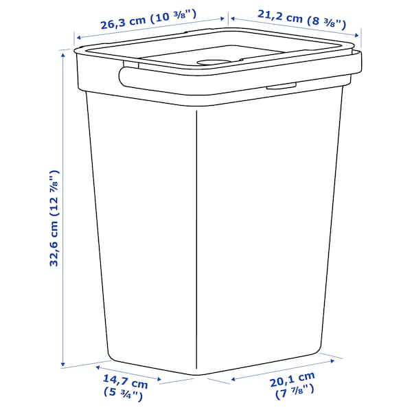 HÅLLBAR Behållare med lock, ljusgrå, 10 l