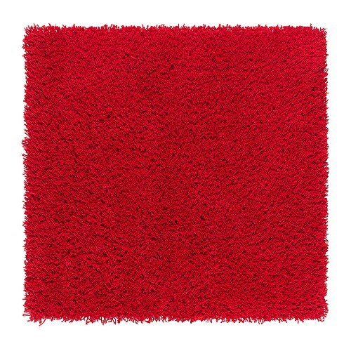 HAMPEN Matta, lång lugg , röd Längd: 80 cm Bredd: 80 cm Yta: 0.64 m² Ytvikt: 2050 g/m² Luggtäthet: 1012 g/m² Luggtjocklek: 30 mm