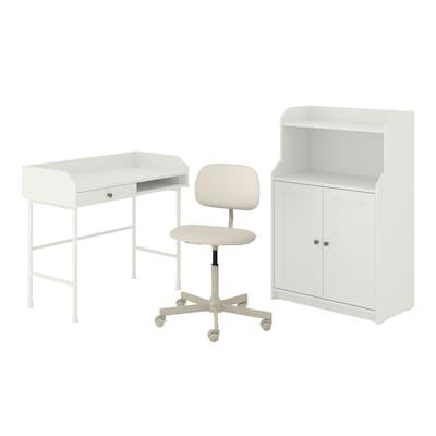 HAUGA/BLECKBERGET Skrivbords-/förvaringskombination, och skrivbordsstol vit/beige