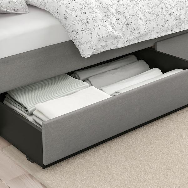 HAUGA Klädd sängstomme, 4 sänglådor, Vissle grå, 180x200 cm