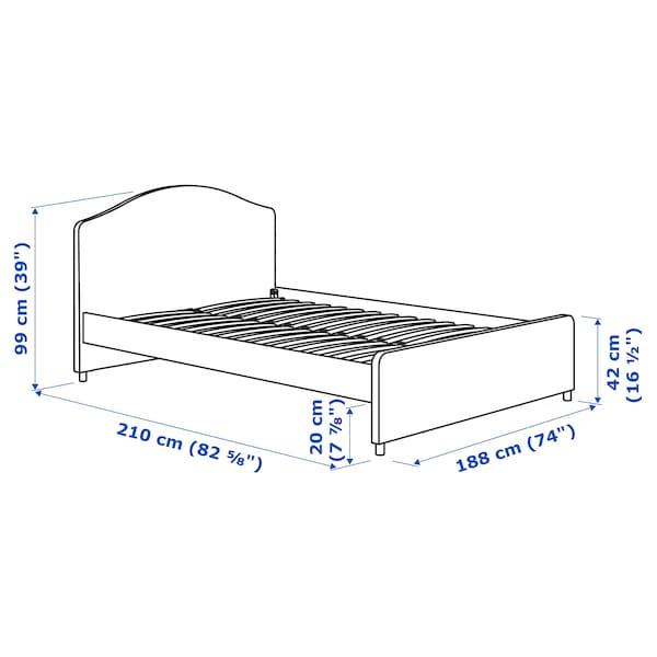 HAUGA Klädd sängstomme, Vissle grå, 180x200 cm
