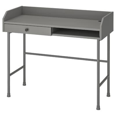 HAUGA Skrivbord, grå, 100x45 cm