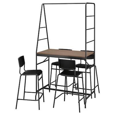 HÅVERUD / STIG Bord och 4 pallar, svart/svart, 105 cm