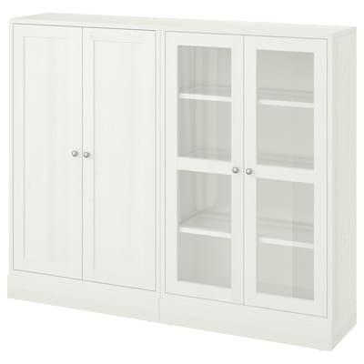 HAVSTA Förvaring med glasdörrar, vit, 162x37x134 cm
