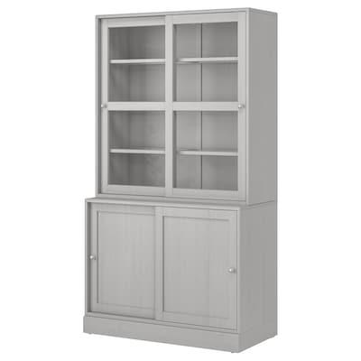 HAVSTA Förvkomb m skjutbara vitrindörrar, grå, 121x47x212 cm