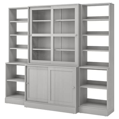 HAVSTA Förvkomb m skjutbara vitrindörrar, grå, 243x47x212 cm