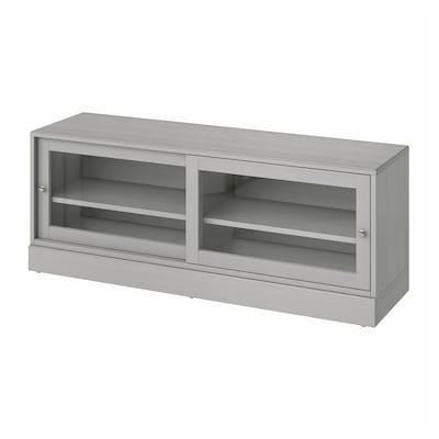 HAVSTA Tv-bänk med sockel, grå, 160x47x62 cm