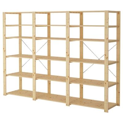 HEJNE 3 sektioner/hyllor, barrträ, 230x50x171 cm