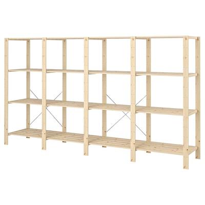 HEJNE 4 sektioner/hyllor, barrträ, 307x50x171 cm