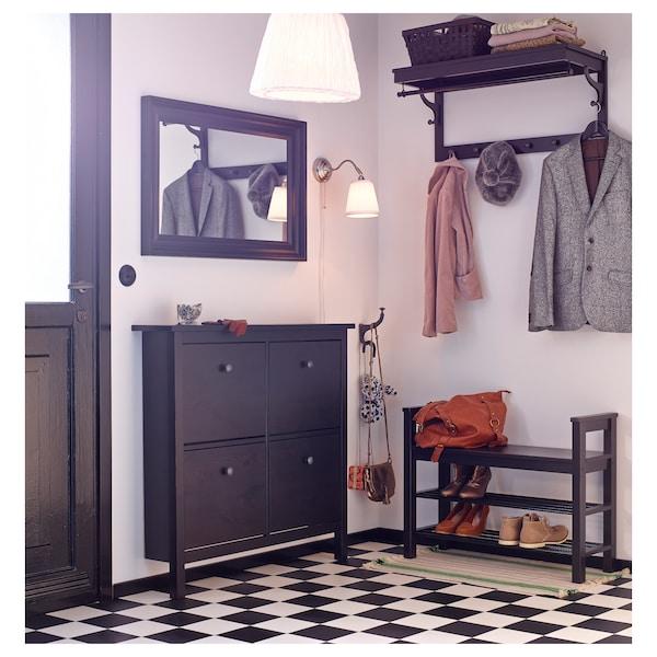 HEMNES Bänk med skoförvaring, svartbrun, 85x32x65 cm
