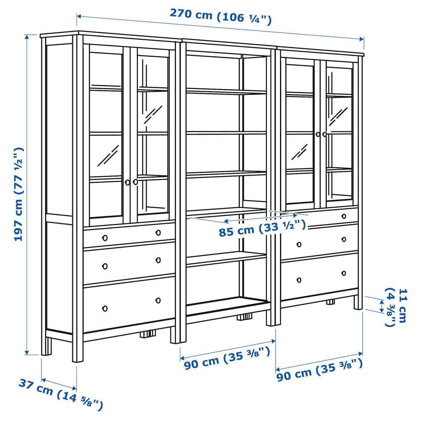HEMNES Förvaringskombination+dörrarlådor svartbrun 270x197 cm