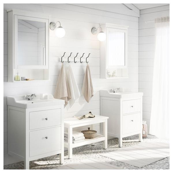 HEMNES / RÄTTVIKEN Kommod med 2 lådor, vit/Runskär kran, 62x49x89 cm