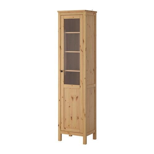 ikea skåp trä ~ hemnes skåp med panelvitrindörr  ljusbrun  ikea