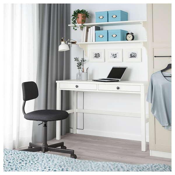 HEMNES Skrivbord med 2 lådor, vitbets, 120x47 cm