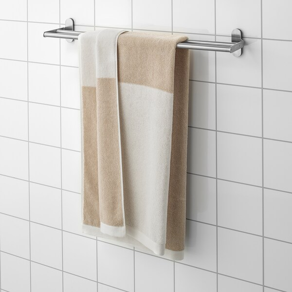 HIMLEÅN Badhandduk, beige/melerad, 70x140 cm