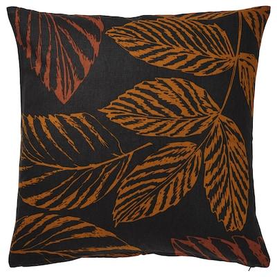 HÖSTKVÄLL Kuddfodral, bladmönster svart/orange, 50x50 cm