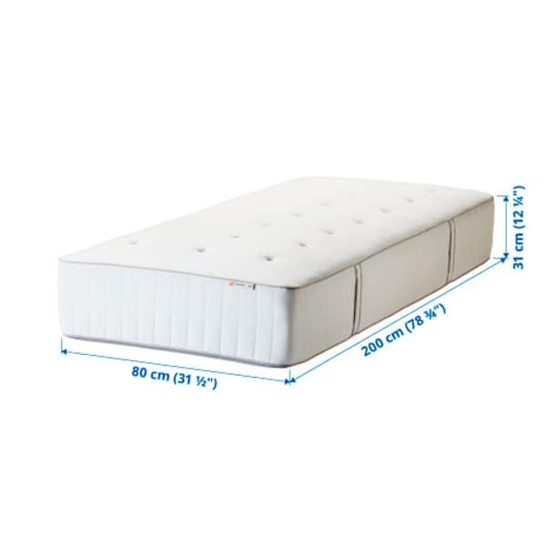 HOKKÅSEN Pocketresårmadrass, medium fast/vit, 80x200 cm
