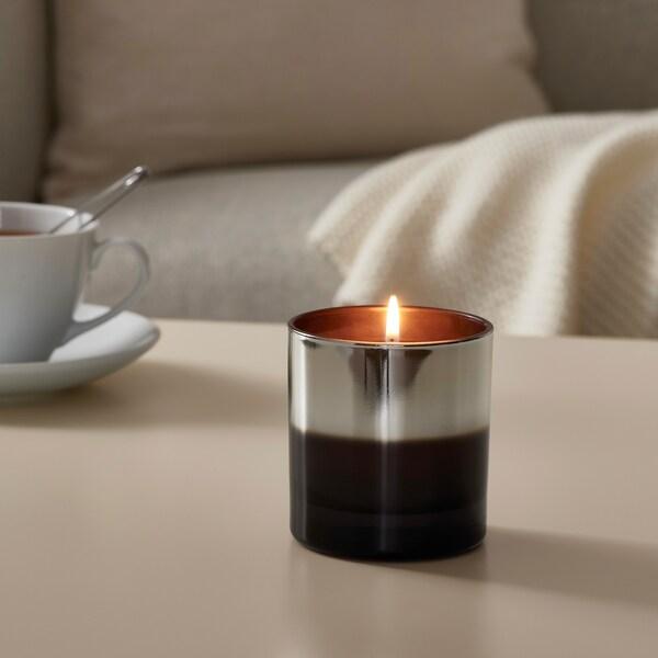 HOPFOGA Doftljus i glas, Kryddigt och blommigt/grå, 9.5 cm