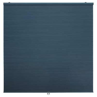 HOPPVALS Rumsförmörkande plisségardin, blå, 100x155 cm
