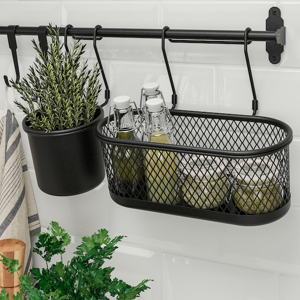 HULTARP Behållare, svart/mesh, 31x16 cm