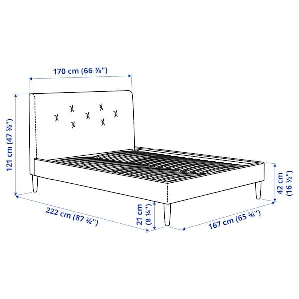 IDANÄS Klädd sängstomme, Gunnared blekrosa, 160x200 cm