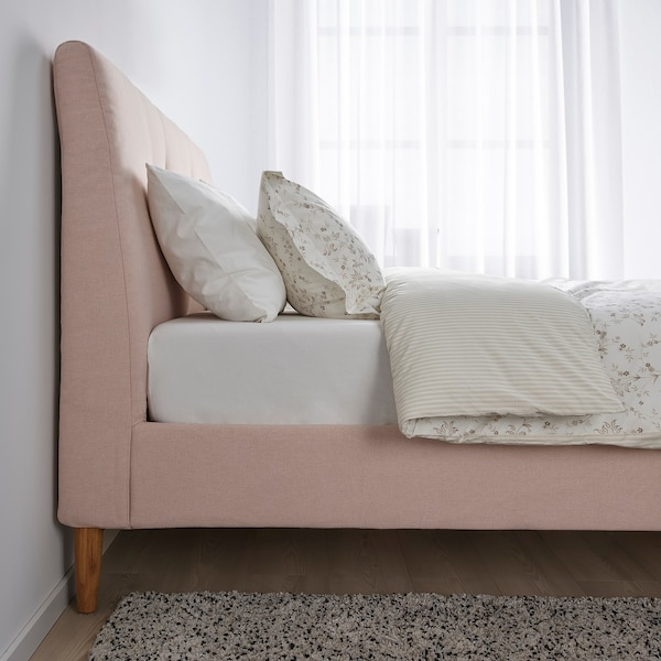 IDANÄS Klädd sängstomme, Gunnared blekrosa, 180x200 cm