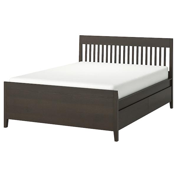 IDANÄS Sängstomme med förvaring, mörkbrun/Lönset, 160x200 cm