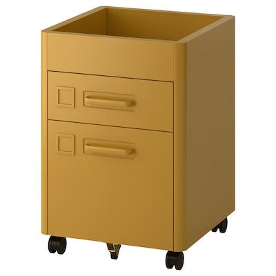 IDÅSEN Lådhurts på hjul, gyllenbrun, 42x61 cm
