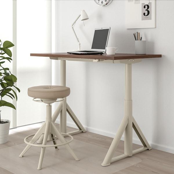 IDÅSEN Skrivbord sitt/stå, brun/beige, 120x70 cm