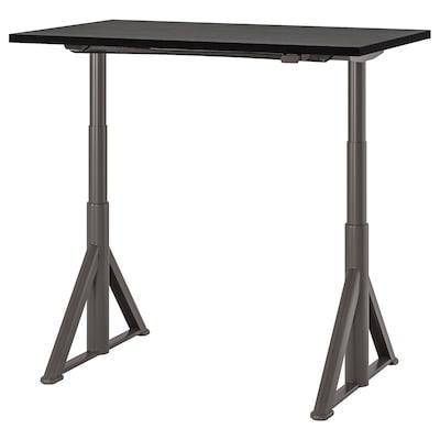 IDÅSEN Skrivbord sitt/stå, svart/mörkgrå, 120x70 cm