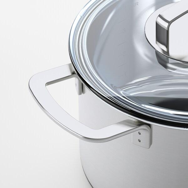 IKEA 365+ gryta med lock rostfritt stål/glas 16 cm 24 cm 5 l