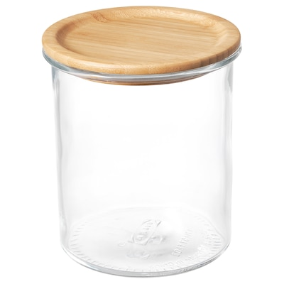 IKEA 365+ Burk med lock, glas/bambu, 1.7 l