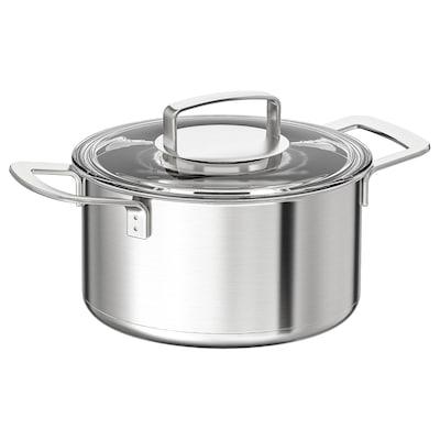 IKEA 365+ Gryta med lock, rostfritt stål/glas, 3 l