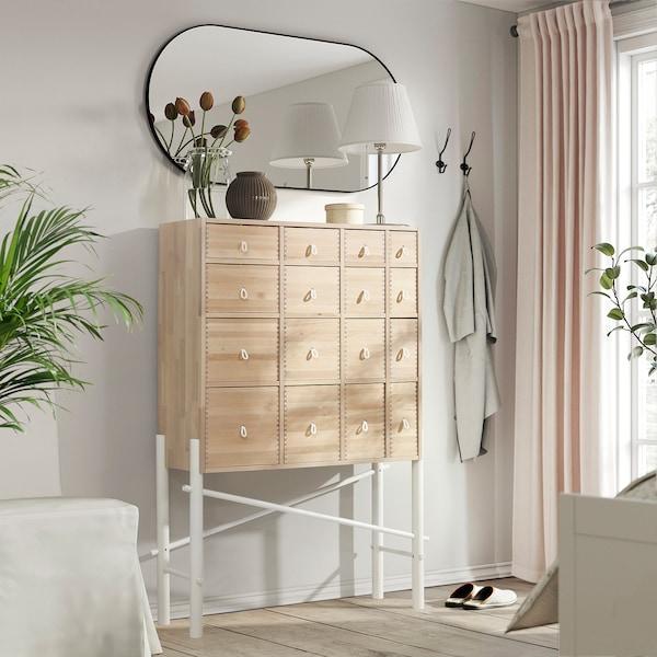 IKEA PS SINKA Skåp med lådor, björk/vit, 94x138 cm
