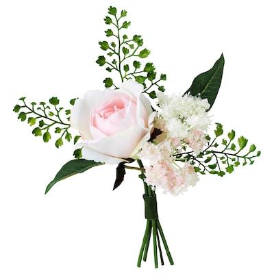 INBJUDEN Konstgjord bukett, rosa, 21 cm