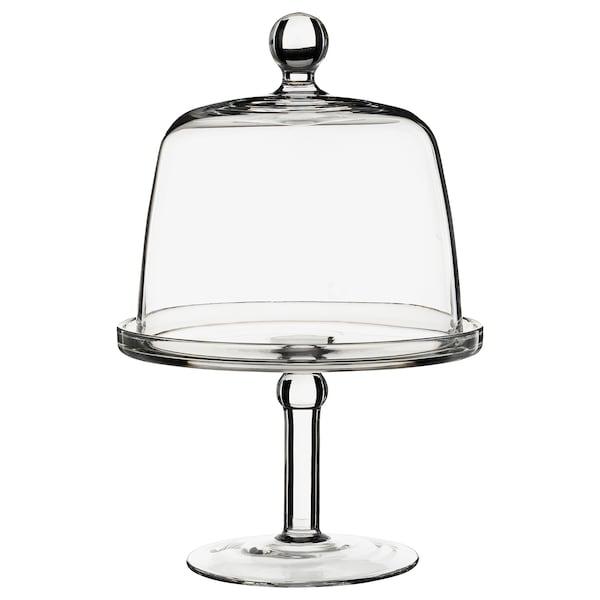 INBJUDEN Uppläggningsfat med lock, klarglas, 19 cm