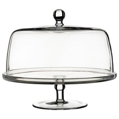 INBJUDEN Uppläggningsfat med lock, klarglas, 29 cm
