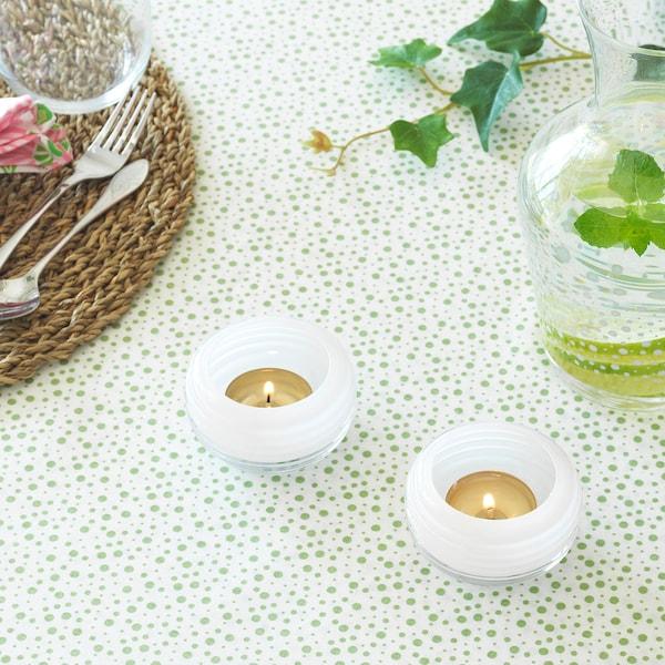 INBJUDEN Värmeljushållare, glas vit, 5 cm