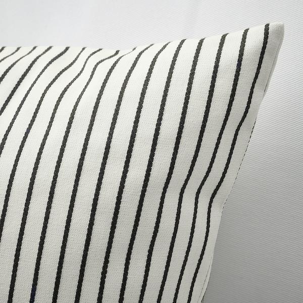 INGALILL kuddfodral vit/mörkgrå randig 50 cm 50 cm